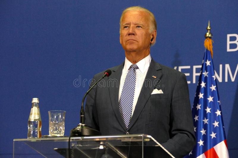 Description: US Vice President Joseph 'Joe' Biden and Serbian PM Aleksandar Vucic stock image