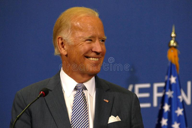 Description: US Vice President Joseph 'Joe' Biden and Serbian PM Aleksandar Vucic royalty free stock photo